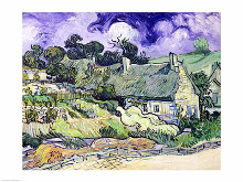 Thatched cottages at Cordeville poster print by Vincent van Gogh