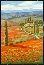 Red Poppy Field poster print by Sung Kim