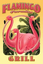Flamingo Paradise Grill poster print by Mike Patrick