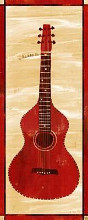 Red Check Guitar poster print by  All Mine Designs