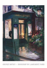 Bookshop By Lamplight, Paris poster print by George Botich