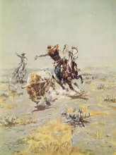 Cowboy Roping a Steer poster print by Charles M Russell