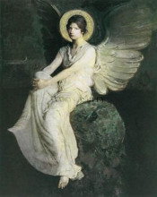 Winged Figure Seated Upon a Rock poster print by Abbott Handerso Thayer