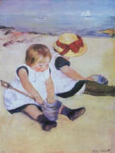 Children Playing On The Beach poster print