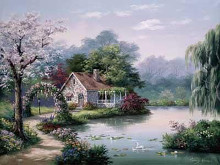 Arbor Cottage poster print by Sung Kim