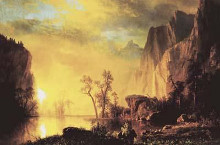 Sunset In The Rockies poster print by Albert Bierstadt