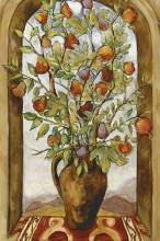 Bouquet Of Figs, Pears And Pomegranates poster print by Nicole Etienne