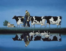 Delta Cows poster print by Lowell Herrero