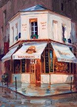 Bake Shop In The Rain, Paris poster print by George Botich