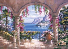 Floral Patio I poster print by Sung Kim