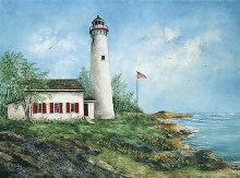 Sturgeon Point Light poster print by Sherry Masters