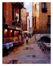 Street Cafe After Rain Venice poster print by Haixia Liu