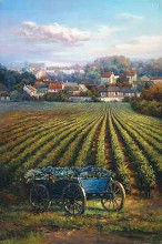 Grapes On Blue Wagon poster print by Rosa Chavez