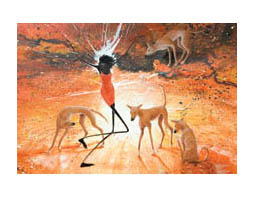 Lighitng Girl With Dingoes poster print by Judy Prosser