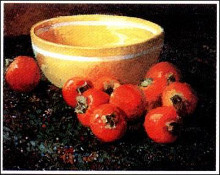 Yellow Bowl With Persimmons poster print by Meridith Abbot