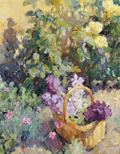 Basket with Flowers poster print by Edward Noott