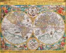 Antique Map - Orbis Terrarum, 1636 poster print by Jean Boisseau