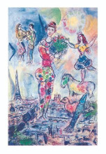on the Roof of Paris poster print by Marc Chagall