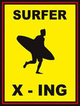 Sign - Surfer Crossing poster print by  Unknown
