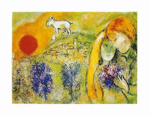 Lovers poster print by Marc Chagall
