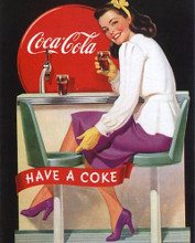 Coca-Cola Lady in Purple poster print by  Vintage Advertising