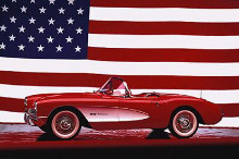 Corvette, 1957 - Us Flag poster print by  Unknown