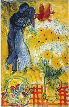 Les Amoureux (Lovers and Flowers) poster print by Marc Chagall