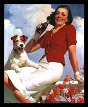 Coca-Cola Lady with Dog poster print by  Unknown