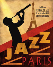 1970 Jazz in Paris poster print by Conrad Knutsen