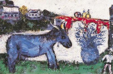 Blue Donkey poster print by Marc Chagall