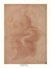 Seated Virgin Holding Child poster print by  Michelangelo