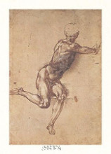 Study Of A Seated Male Figure poster print by  Michelangelo