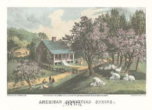 American Homestead Spring poster print by  Currier Ives