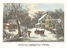 American Homestead Winter poster print by  Currier Ives