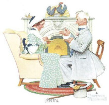 Gaily Sharing Vintage Times poster print by Norman Rockwell