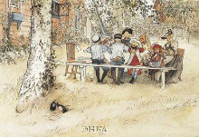 Breakfast Under The Big Birch poster print by Carl Larsson