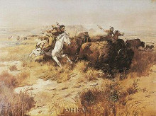 Indian Buffalo Hunt poster print by Charles M Russell