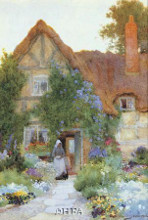Outside The Cottage poster print by Arthur C Strachan