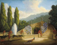 Garden With Peacock And Fountain poster print by Tim Ashkar