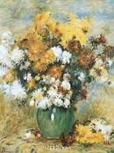 Vase Of Chrysanthemums poster print by Pierre-Auguste Renoir