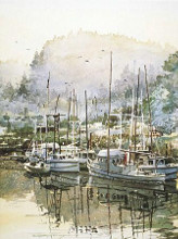 Boats Near Mendocino poster print by Lavere Hutchings