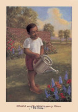 Child With Watering Can poster print by Tim Ashkar