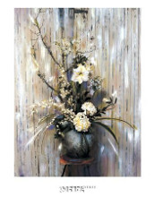 White Flowers poster print by Deborah Roundtree
