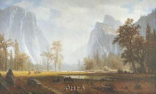 Looking Up The Yosemite Valley poster print by Albert Bierstadt