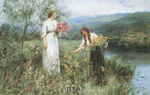Gathering Flowers poster print by Henry John King