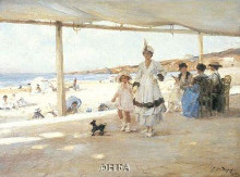 Figures On A Veranda By The Beach poster print by Paul-Michel Dupuy