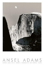 Moon And Half Dome poster print by Ansel Adams