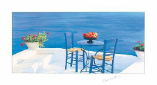 Blue Table With Pomegranates poster print by George Meis