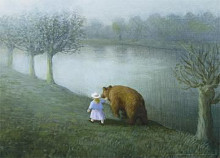 Girl Walking the Bear poster print by Michael Sowa