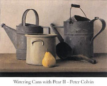 Watering Cans with Pear II poster print by Peter Colvin